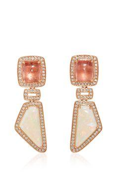 One of a Kind Rose Gold Tourmaline and Opal Earrings by Dana Rebecca Designs for Preorder on Moda Operandi