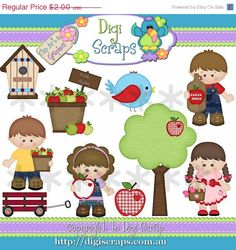 Apple Fritter Kids digital clipart set... you will recieve 300dpi png files  design by: Kristi W    HANDMADE items are always allowed and are