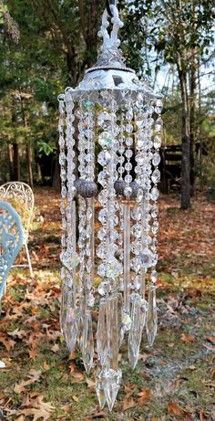 Shimmery Jeweled Silver Antique Crystal Wind Chime ~ #Windchime inspiration ♥