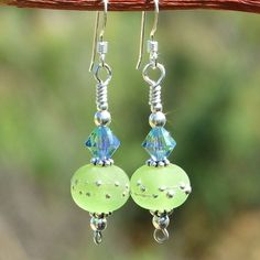 Handmade Green Lampwork Earrings Provence Swarovski Crystals Jewelry | ShadowDogDesigns - Jewelry on ArtFire