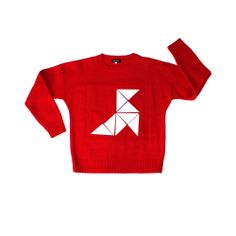 Image of RED WHITE ORIGAMI JUMPER