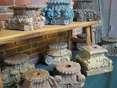 old columns capitals would be incredibly lovely on a buffet table as a platform Vintage Oil Cans, Column Capital, Decorative Mouldings, Indian Homes, Food Displays, Oldies But Goodies, Architectural Salvage, Architecture Details, French Antiques