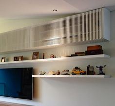 Interior Design Ideas - Hide The Air-Conditioning Unit Inside A Cabinet Split System Air Conditioner, Air Conditioner Cover, Hide Ac Units, Interior Design Colleges, Air Conditioning Units, Decoration Design, Cafe Interior, Interior Rendering, Home And Deco