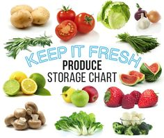 Wondering how long fruit and veg will last? Use our nifty produce-storage chart! Fruit And Veg, Fresh Fruit, Produce Storage, Good Housekeeping, Organising, Desert Recipes, Nifty, Meal Prep, Deserts