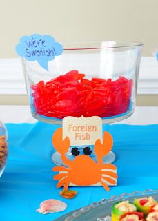 Make Swedish Fish a part of your Bubble Guppies birthday party spread! This cute crab sign completes the joke: swedish fish are foreign fish!