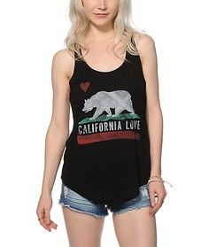 0f34f7a0a0 A California flag inspired bear graphic is printed on the front of this  relaxed fit racerback tank top cut with a lightweight rayon blended  construction for ...