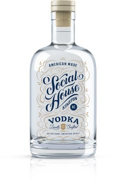 Unchosen concept packaging and branding for a distillery in Kinston N.C. called Social House. Custom lettering