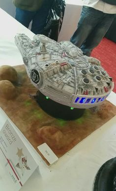 Millennium Falcon cake at a catering event