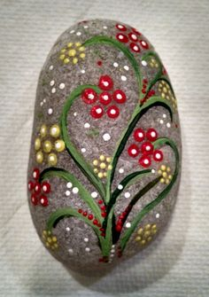 One-of-a-kind hand-painted rock found on north shore beach of Long Island, New York. I select only the stones that resonate with me - their textures, shapes and sizes dictate the motifs. This rock is painted with acrylic paint and finished with acrylic gesso. Signed on the back. Approximate size of rock is 5-inches.  Painted rocks are an art form found in cultures all over the world. Some people believe they have mystical powers. I invite you to invest this stone with your own meaning. I…