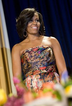 First lady Michelle Obama wearing Naeem Khan at the 2012 White House Correspondents' Association Dinner held at the Washington Hilton (April 28, 2012)