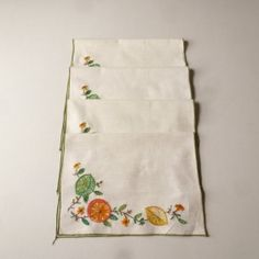 Linen Place Mats  Crewel Embroidered Placemats  60' by Wanted, $10.00