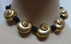 b7c3293c147 Vintage YSL Yves Saint Laurent Gilt Seashell and Black Rope Choker Necklace  Black Rope, Sea