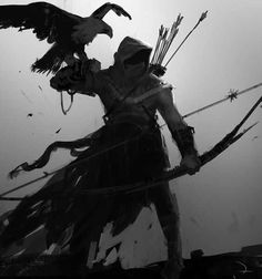 View an image titled 'Bayek & Senu Concept Artwork' in our Assassin's Creed Origins art gallery featuring official character designs, concept art, and promo pictures. Dark Fantasy Art, Fantasy Kunst, Fantasy Rpg, Medieval Fantasy, Fantasy Artwork, Dark Art, Medieval Archer, Fantasy Character Design, Character Concept