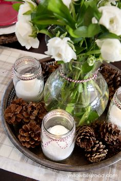 A lovely holiday centerpiece with fresh flowers