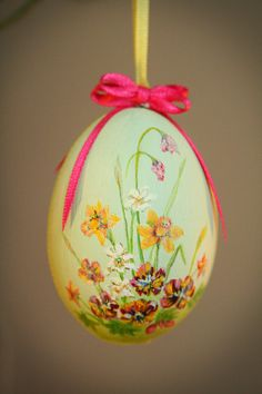 Hand Painted Easter Egg  Pansies & Daffodils by BlueLilyVintage, £15.00