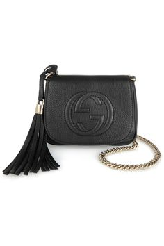 LOVE THIS>>>BLACK AND SILVER!   Gucci | Soho small textured-leather shoulder bag | NET-A-PORTER.COM