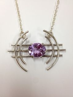 Stephanie's amethyst and silver pendant  using prong setting technique
