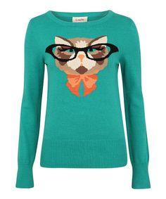 Look at this #zulilyfind! Green Cat Glasses Intarsia Jumper #zulilyfinds
