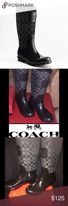 "COACH RAINBOOTS Classic ""C"" Monogram Size: 8B *Purchased from the COACH website* Style: PEARL Color: BLACK / Only worn once or twice. Beautiful in ""Like New"" Condition. Box Not Included (stored on shelf). The classic rain boot that goes with everything! A wardrobe MUST HAVE! Coach Shoes Winter & Rain Boots"