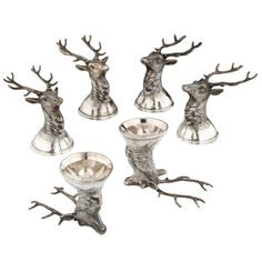 Russian Silver 'Stag' Stirrup Cups, 1897-1908 | From a unique collection of antique and modern sterling silver at http://www.1stdibs.com/furniture/dining-entertaining/sterling-silver/