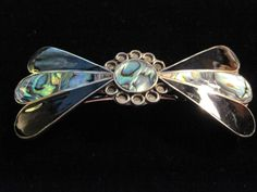 Black & Blue Bow Shaped Silver Plated Abalone Clip Hair Barrette #UpstreamTradingCompany