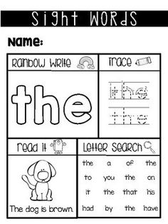Sight Word Worksheets *Fry Sight Words #1-50*
