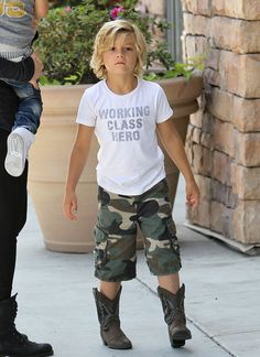 Kingston and Zuma Rossdale Out with the Nanny, cowboys boots and Army printed trouser...