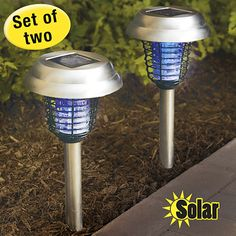 STAINLESS STEEL SOLAR POWERED BUG ZAPPER SET OF TWO from Get Organized