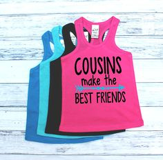 DISCOUNT Code: ANNABELLE15 on all Vazzie Tees purchases <3  Cousins make the Best Friends - Infant Tank Tops - Unisex Racerback Tank Tops - Family Reunion Shirts - Family Shirts - Cousins - Besties by VazzieTees on Etsy https://www.etsy.com/listing/399807291/cousins-make-the-best-friends-infant