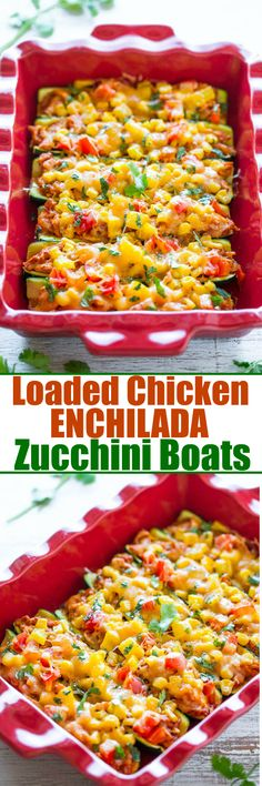 Loaded Chicken Enchilada Zucchini Boats - Skip enchilada wraps and use zucchini instead!! Easy, healthier and there's so much FLAVOR between juicy chicken drenched in enchilada sauce, corn, peppers, and CHEESE!! Perfect for summer events!