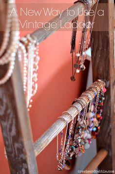 Using a vintage ladder to hold jewelry by createandbabble.com