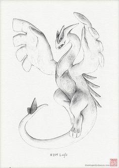 Lugia 8 x 10 print (pokemon drawing art artwork gaming nintendo decor) Pokemon Sketch, Pokemon Fan Art, Cool Pokemon, Nintendo Pokemon, Lugia Pokemon, Pikachu, Art Drawings Sketches, Drawing Art, Pokemon Tattoo