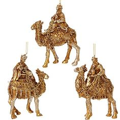 "RAZ Imports - Garnet Theme - 4.5"" Gold Wisemen Ornaments - Set of 3"
