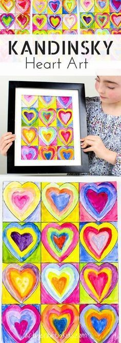 Arty Crafty Kids Art for Kids Kandinsky Inspired Heart Art Inspired by Kandinsky Art, this gorgeous Heart Art Painting is a fabulous art project for kids that can framed and shared as a Kid-Made Gift for any special occassion, uncluding Mother's Day