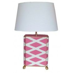 Dana Gibson Parthenon Table Lamp in Pink and White with Shade - ON BACKORDER UNTIL FEBRUARY 2018