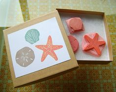 Hand-Carved Rubber Stamp Set - Beach (by brownpigeon @Etsy)