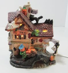 Spooky Hollow Lighted Halloween Porcelain Haunted  Inn House Decoration Display  #SpookyHollow