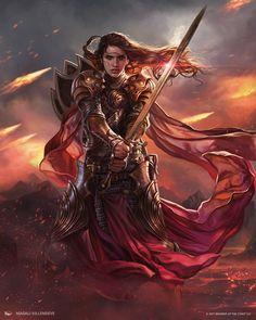 MtG Art: Soldier Token from Modern Masters 2017 Set by Magali Villeneuve - Art of Magic: the Gathering Fantasy Female Warrior, Angel Warrior, Female Knight, Fantasy Rpg, Fantasy Artwork, Female Art, Daily Fantasy, Woman Warrior, Inspiration Drawing