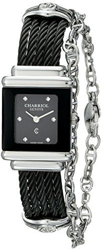 5b16559a27c6 Charriol Womens SSTRBN1545RE005 St Tropez Analog Display Swiss Quartz Black  Watch