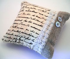 Pillow-burlap, lace and patterned fabric. Sewing Pillows, Diy Pillows, Decorative Pillows, Throw Pillows, Lace Pillows, Burlap Crafts, Fabric Crafts, Sewing Crafts, Sewing Projects