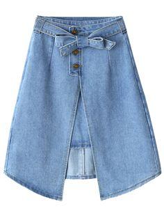 $32.99 | Front Slit Bownot Denim Skirt | Psychedelic Monk