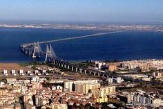 Vasco da Gama bridge from the air - Lisbon - Portugal  The longer bridge in Europe with its 17 km. #travel