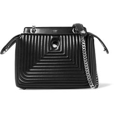 Fendi DotCom Click quilted leather shoulder bag (€2.405) ❤ liked on Polyvore featuring bags, handbags, shoulder bags, black, pouch purse, crossbody pouch, quilted leather crossbody, fendi crossbody and fendi purses