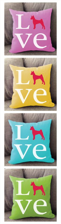 Basenji love pillow. Offered in multiple colors and 50+ dog breeds. Cover is machine washable and Made in USA.
