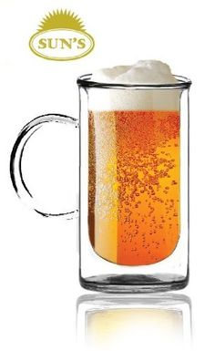 Sun`s Tea(Tm) 20oz Ultra Clear Strong Double Wall Glass Mug With Big Handle for Beer/Iced Tea/Soda $14.99 (save $10.00) + Free Shipping