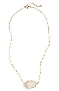 Panacea Cultured Pearl & Drusy Necklace available at #Nordstrom