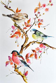 Peinture aquarelle oiseaux originale Mésange par ArtCornerShop