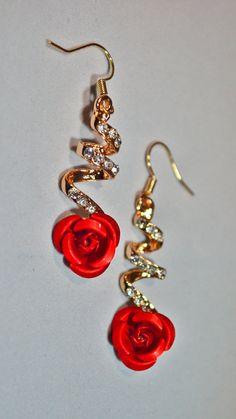Red rose earrings   Etsy shop https://www.etsy.com/uk/listing/508945133/red-rose-earrings-rose-earrings-flower #redjewelry #redroses #vintagestyle #redfloral #flowerjewelry #valentines