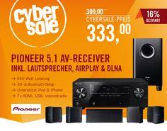 Genialer Soundprofi: Pioneer HTP-202 5.1-System mit 650 Watt Leistung, AirPlay und DLNA für 333 Euro.