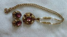 Vintage Western Germany Glass / Rhinestone Jewelry Suite / Set - Amethyst Color #Unbranded